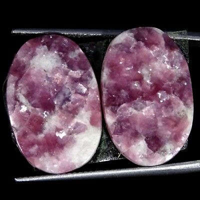 18.50Cts 100% Natural Lepidolite Oval Pair Cabochon Loose Gemstone