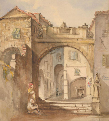 Margaret (Daisy) George- Mid 19th Century Watercolour, Figures in a Street Scene
