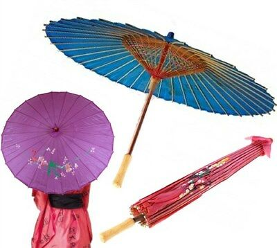 Japanese Chinese Umbrella Art Deco Painted Parasol Assorted Colors