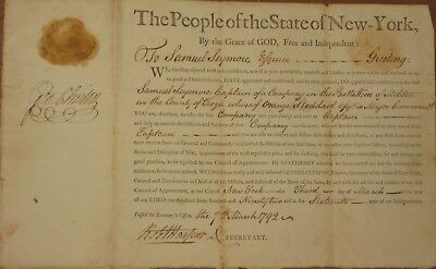 1792, N.Y. Governor George Clinton, Patriot , Statesman, signed military appoint
