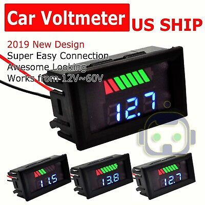 12V-60V Car Marine Motorcycle LEDs Digital Voltmeter Voltage Meter Battery Gauge