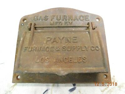 Antique 1920's CAST IRON Payne Gas Furnace Cover VINTAGE WALL MAIL BOX DOOR USPS