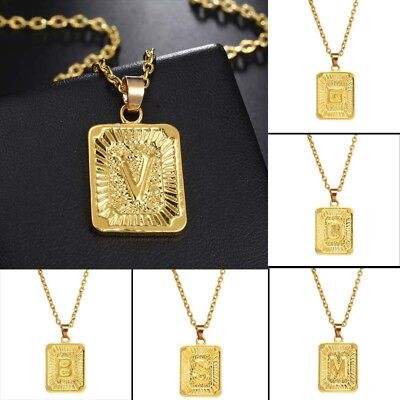 1 Pc Unisex Women Men Gold Plated Initial Letter Pendant Chain Necklace Jewelry