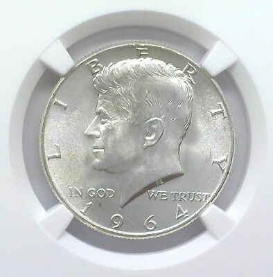 1964-D Kennedy Silver 50 Cents Ngc Ms66+ Looks 67! Valued At $215!