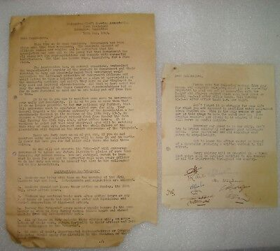 Palestine Civil Service Association 2nd Division Letter 1943 Strike Protest