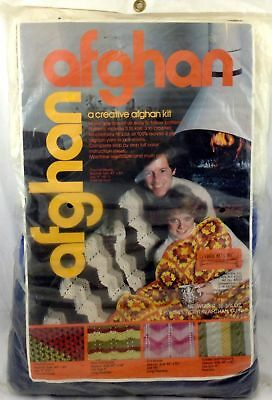 Vtg Sealed Afghan Kit Crochet Knit 6 Patterns White Royal Navy Blue Yarn Knits