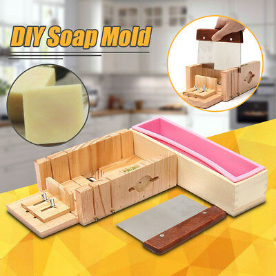 Loaf Soap Mould Silicone Wooden Mold Soap Making Tools Slicer Cutter With Knife