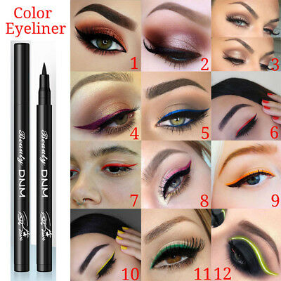 Pro 12 colors Matte Eyeliner Waterproof Liquid Long Lasting Eye Liner Pen Tools