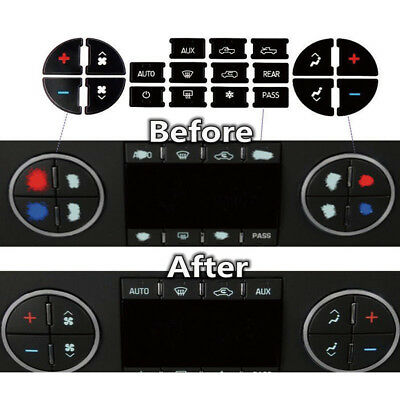 AC Button Repair Kit Decal Stickers Dash Replacement for Chevy GMC Chevrolet PVC