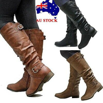 Womens Leather Flat Knee High Low Heel Boots Ladies Casual Zipper Shoes Size 3-6