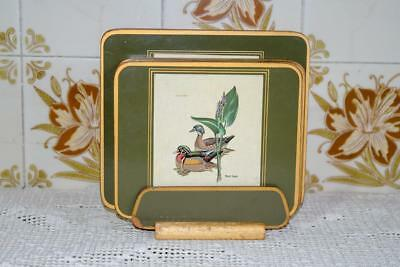 Vintage Small PLACE MATS with Pictures of Ducks - Cork Backed Placemats-on stand