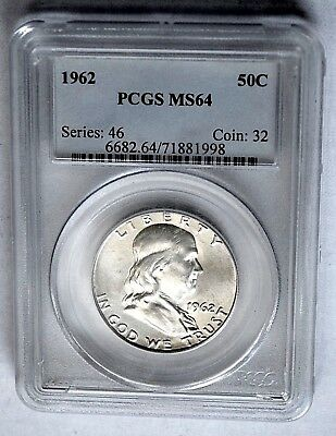 1962 Franklin Half Dollar Pcgs Ms64 Collectible Us Coins Birthday Gift Idea