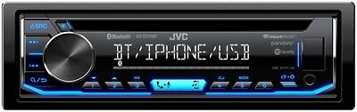 JVC KD-TD70BT In Dash Single DIN CD Car Audio Receiver with Bluetooth USB AUX