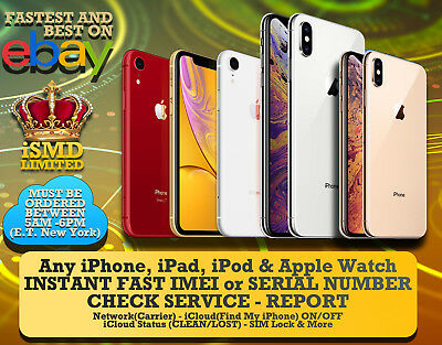INSTANT FAST iPhone 11 PRO XS MAX XR IMEI NETWORK CARRIER ICLOUD BLACKLIST CHECK
