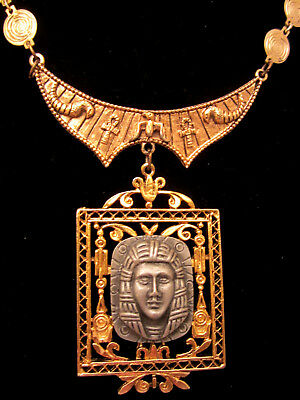 "Rare Vintage 18""x3"" Signed ART Goldtone Egyptian Revival Statement Necklace A54"