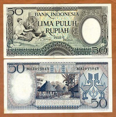 Indonesia, 50 Rupiah, 1958, P-58, Ch. UNC, Yellow Tone > Ornate, 60 years old