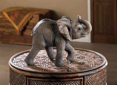 "realistic gray baby ELEPHANT 7"" sculpture lucky RAISED TRUNK figurine statue"