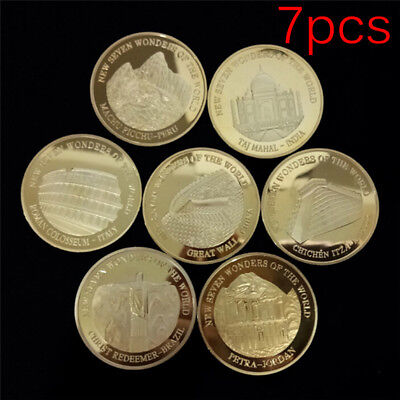7pcs Seven Wonders of the World Gold Coins Set Commemorative Coin Collection Fs