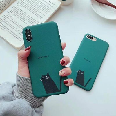 For iPhone Xs Max Xr X 8 7 6s Plus Hard Phone Case Cute Cartoon Black Cat Covers