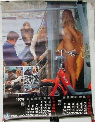 Vintage 1979 Vespa Piaggio Scooter Motor Bike Large Calendar March April Poster