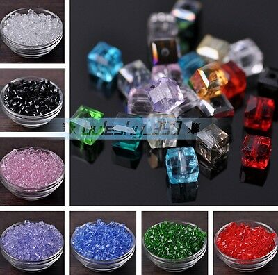 25~100pcs 6mm Cube Square Faceted Crystal Glass DIY Jewelry Loose Spacer Beads