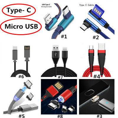 Magnetic Type C 90 Degree Micro USB Fast Charging Charger Cable For Android LG