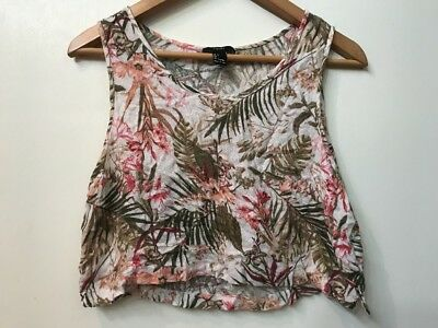 Forever 21 Hibiscus Palm Leaf Print Crop Tank Top Scoop Neck Tropical L Large