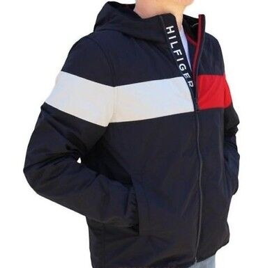 a3a8cb307a126 Tommy Hilfiger Hommes Erwin Colorblocked Veste Coupe-Vent Neuf Taille M