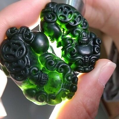 1 pcs Natural jade Black green jade Pendant Necklace engraving pixiu statue