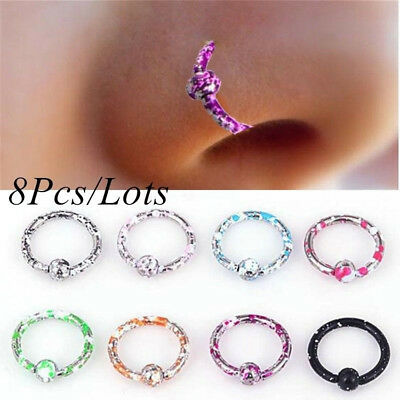 8pcs Seamless Hinged Segment Sleeper Ring Hoop Ear Lip Nose Septum Piercing