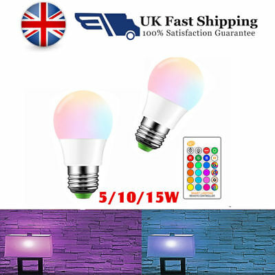E27 LED RGB Bulb Dimmable Memory+Remote Control 16color Changing 5W 10W 15W New