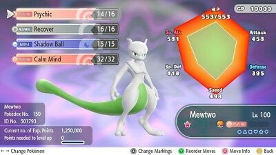 Shiny Mewtwo 6IVs Pokemon Lets Go Switch Eevee/Pikachu