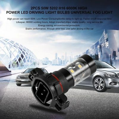 2x 6000K 5202 H16 Super White 50W High Power LED Fog Light Driving Bulbs DRL