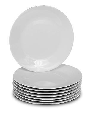8 White Dinner Plates Porcelain Round 10.5-inch Classic Solid Plate Set