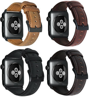 For Apple Watch 3 2 1 38/42mm Retro Genuine Leather iWatch Band Men Casual Strap
