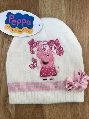 baff836c301 BNWT Pretty Girls Kids Peppa Pig Cream Beanie Hat Age 2-4 yrs Warm winter