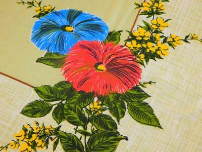 Vintage Coral Blue FORSYTHIA Floral TABLECLOTH Green Brown Cotton Rayon 48x56""