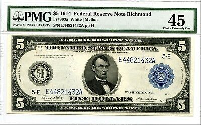 $5 1914 Federal Reserve Note Richmond Fr#863a PMG Choice Extremely Fine 45 SH201