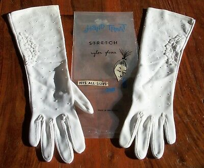 Vintage Women's Hand Treat Stretch Nylon Beaded Long White Gloves