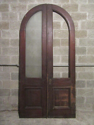~ Antique Walnut Double Entrance French Doors 1 Etched Glass ~ 50 X 103 ~Salvage