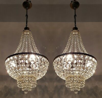 A Pair of Antique  Brass & Crystals French Chandeliers Ceiling Lamp 1950's