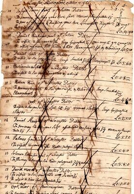 1761, Dr. John Green, Worcester, Mass; account sheet for medical services, drugs
