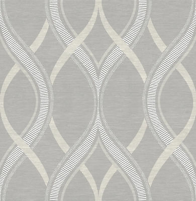 Brewster 2625-21850 Grey Ogee Frequency Grey Ogee Wallpaper