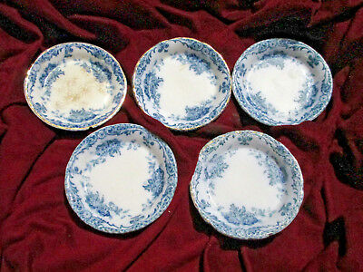 ANTIQUE BUTTER PATS 1898 PORCELAIN CHINA GLENMERE floral flow blue ALFRED MEAKIN