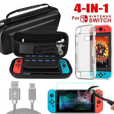 For Nintendo Switch Case Bag/Screen Protector/Clear Cover/Charging Cable Kits