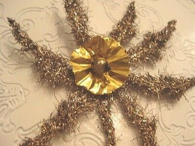 Antique Gold Tinsel Christmas Tree Topper Gold Ruffle Foil Center & Mercury Bead