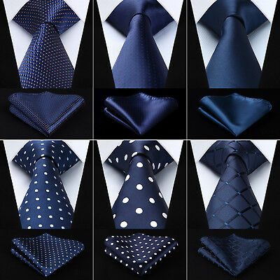9 Style Navy Blue Necktie Mens Silk Ties Handkerchief Set Plaid Paisley Wedding