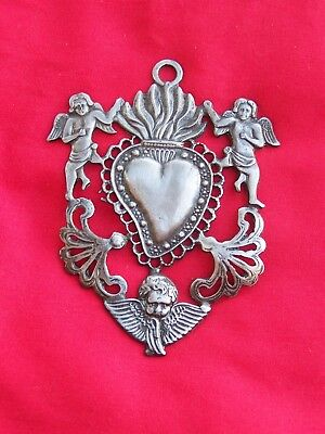 Tin/Silver Sacred Heart with Angels Milagro Ex Voto