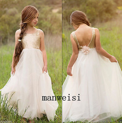 9825890e210 Gold Sequins Flower Girl Dress Floor Length Special Occasion Birthday Prom  Gown