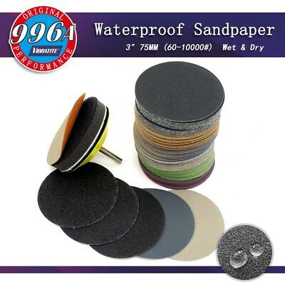 50PCS 3Inch Waterproof Sandpaper Hook and Loop Silicon Carbide 60 to 10000 Grits